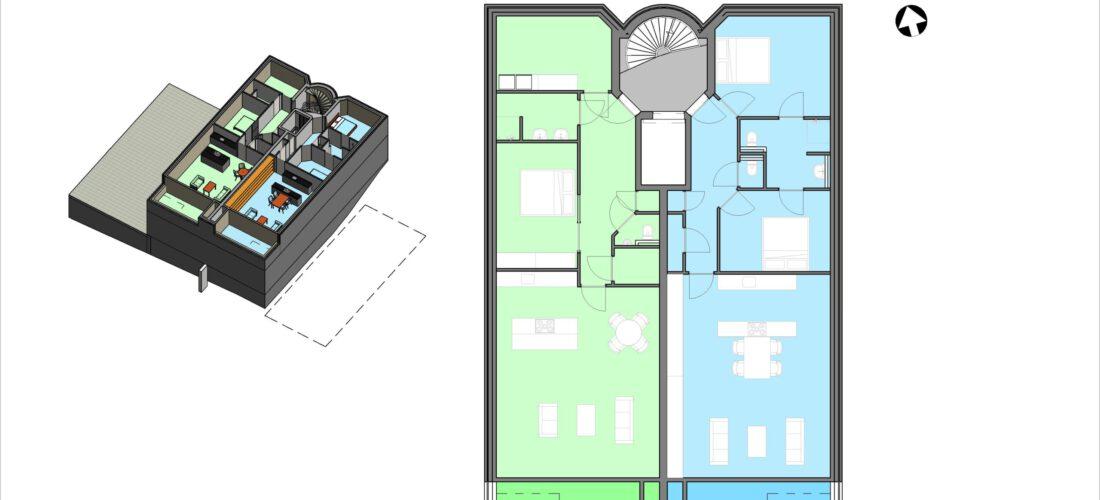 Eerste verdieping schetsontwerp (voorbeeld)