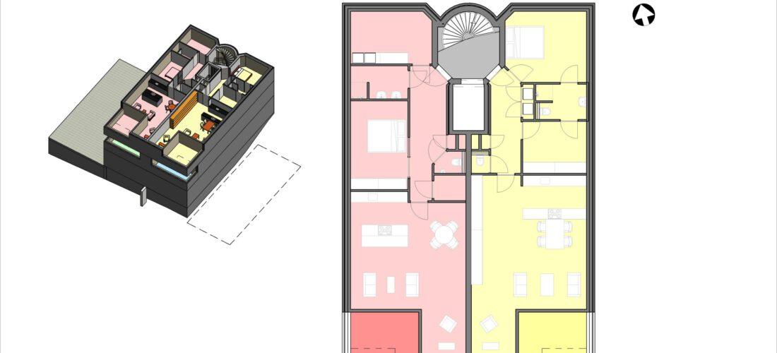 Tweede verdieping schetsontwerp (voorbeeld)