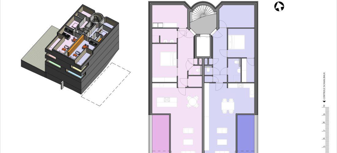 Derde verdieping schetsontwerp (voorbeeld)