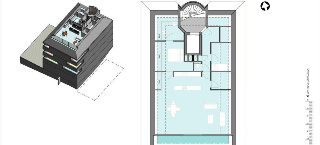 Vierde verdieping schetsontwerp (voorbeeld)