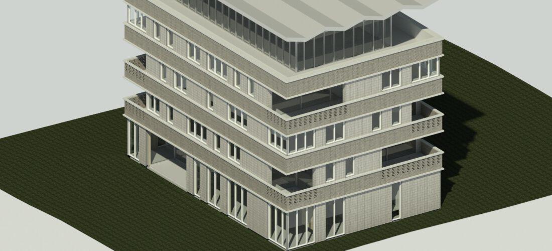 een voorbeeld plat dak t.b.v. zonnepanelen (schetsontwerp)